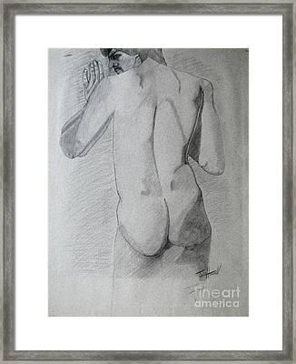 Figure Study On Gray Paper Framed Print