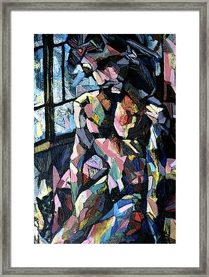 Figure With Cat Framed Print by Alfredo Gonzalez