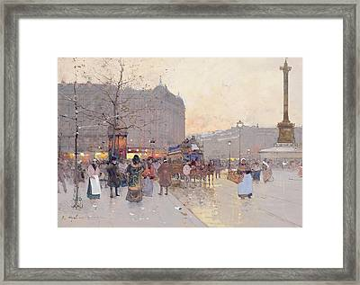 Figures In The Place De La Bastille Framed Print by Eugene Galien-Laloue