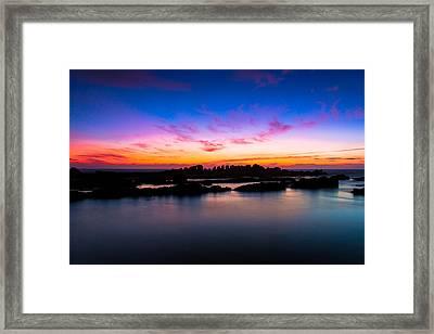 Figures To Sunset Framed Print