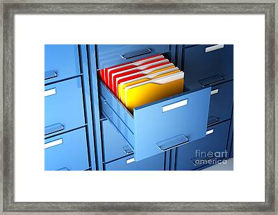 File Cabinet And Folder Framed Print by Gualtiero Boffi