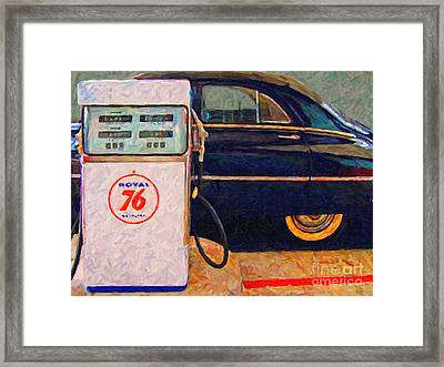 Fill Her Up At The Old Royal 76 Gas Station Framed Print by Wingsdomain Art and Photography