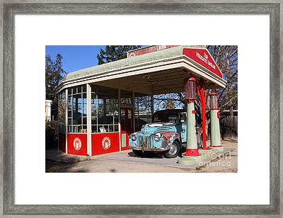 Filling Up The Old Ford Jalopy At The Associated Gasoline Station . Nostalgia . 7d12880 Framed Print by Wingsdomain Art and Photography
