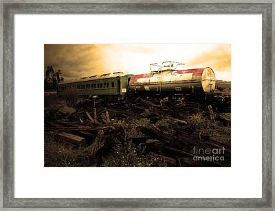Final Stop Express . Sepia . 7d8995 Framed Print by Wingsdomain Art and Photography