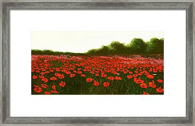 Fine Art Oil Painting Poppies Emerald Isle Framed Print
