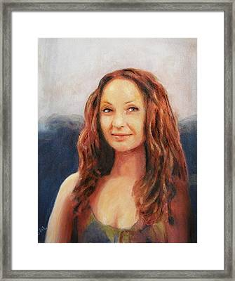 Fine Art Original Painting Jen Mona Lisa 2012 Framed Print