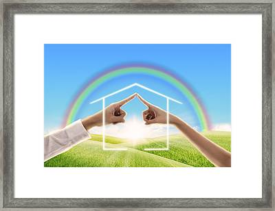 Fingers Touching Together Framed Print by Setsiri Silapasuwanchai