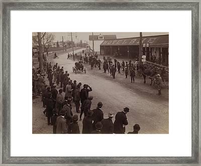 Finish Of Auto Race At Springfield L.i Framed Print by Everett