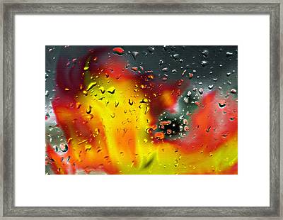 Fire And Rain Abstract 2 - Inverted Framed Print by Steve Ohlsen