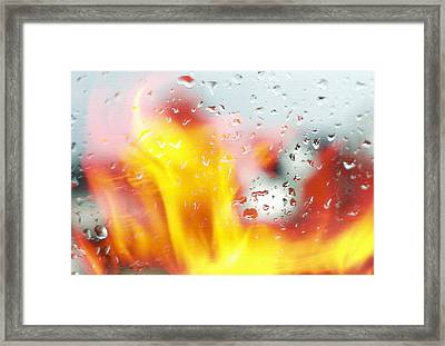Fire And Rain Abstract 2 Framed Print by Steve Ohlsen