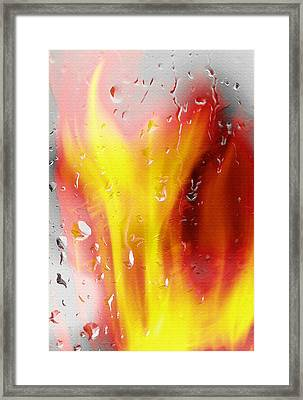 Fire And Rain Abstract Framed Print by Steve Ohlsen