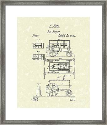 Fire Engine 1845 Patent Art Framed Print by Prior Art Design