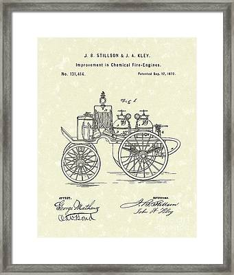 Fire Engine 1862 Patent Art Framed Print by Prior Art Design