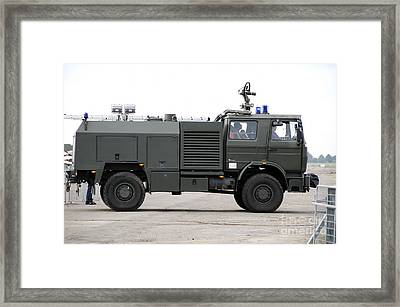 Fire Engine Of The Belgian Army Located Framed Print