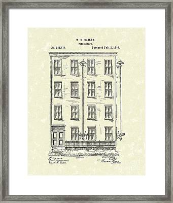 Fire Escape 1886 Patent Art Framed Print