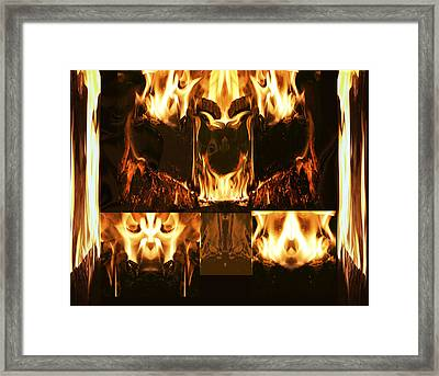 Fire Faces Framed Print by Janet Kearns