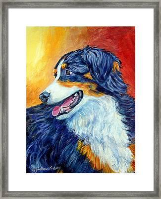 Fire Glow - Australian Shepherd Framed Print by Lyn Cook