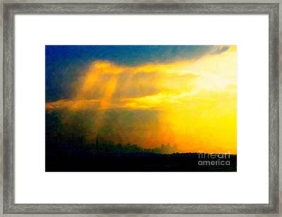Fire In The City Framed Print by Wingsdomain Art and Photography