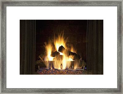 Fire In The Fireplace Hearth Framed Print