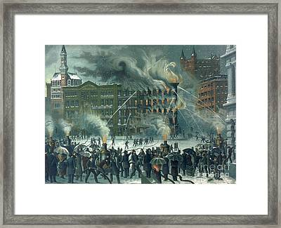 Fire In The New York World Building Framed Print by American School