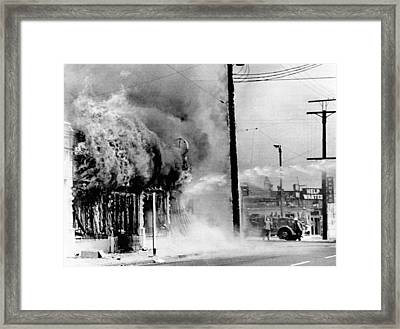 Fire On A Block During The 4th Day Framed Print by Everett