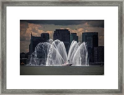 Fireboat On The Hudson Framed Print