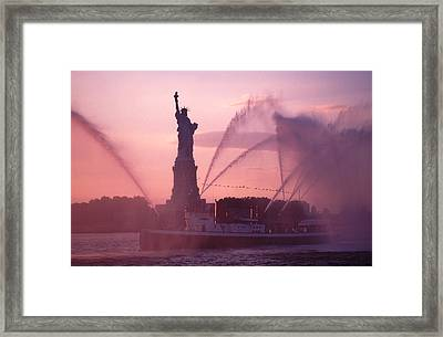 Framed Print featuring the photograph Fireboat Plumes The Statue Of Liberty by Tom Wurl