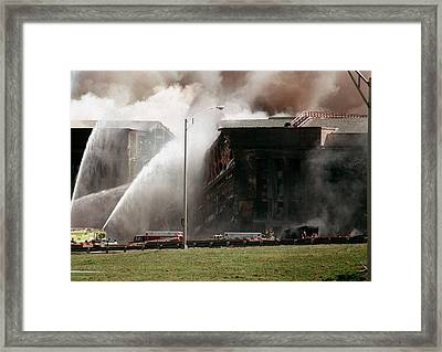 Firefighters Struggle To Contain Framed Print by Everett