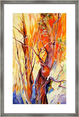 Framed Print featuring the painting Fireglow by Rae Andrews