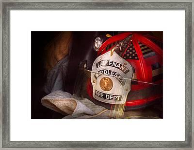 Fireman - Hat - The Lieutenants Cap  Framed Print by Mike Savad