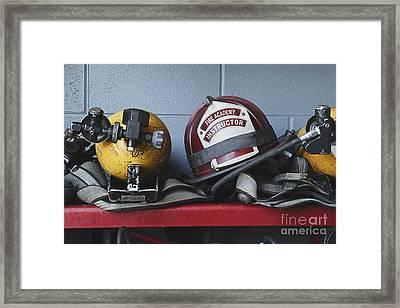 Fireman Helmets And Gear Framed Print by Skip Nall
