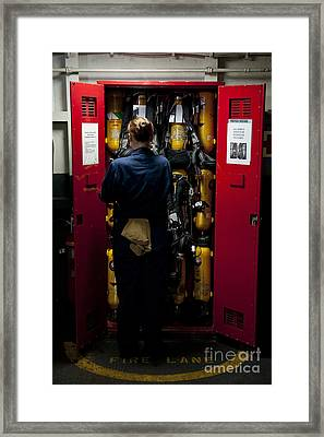 Fireman Stows A Self-contained Framed Print