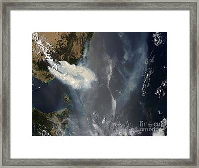 Fires And Smoke In Southeast Australia Framed Print by Stocktrek Images