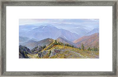 Framed Print featuring the painting Fires Re-creation by Steve Spencer