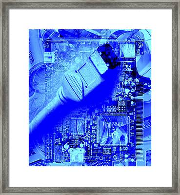 Firewire Cable And Pc Motherboard Framed Print by Christian Darkin