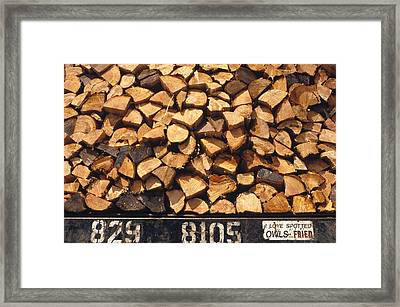 Firewood Hauled From Clearcut On Truck Framed Print
