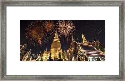 Firework On Thai Royal Palace Framed Print