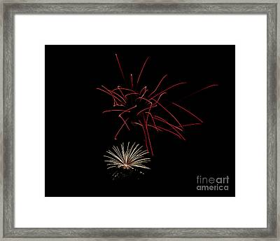 Framed Print featuring the photograph Fireworks 6 by Mark Dodd