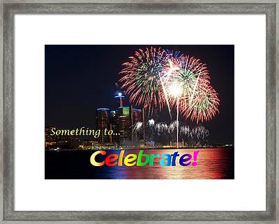 Fireworks Card Framed Print