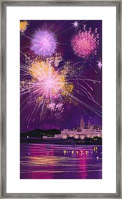 Fireworks In Malta Framed Print