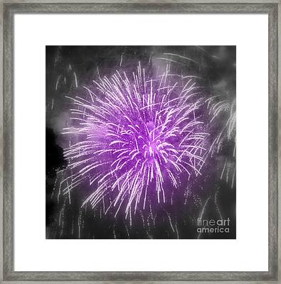 Framed Print featuring the photograph Fireworks In Mauve by France Laliberte