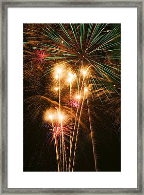 Fireworks In Night Sky Framed Print