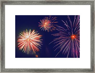 Fireworks In The Night Sky Framed Print by Carson Ganci