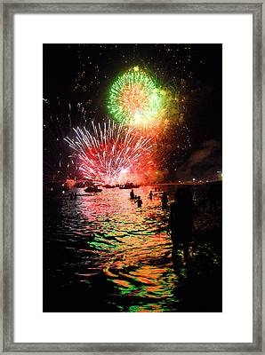 Fireworks On The Beach Framed Print by Perry Van Munster