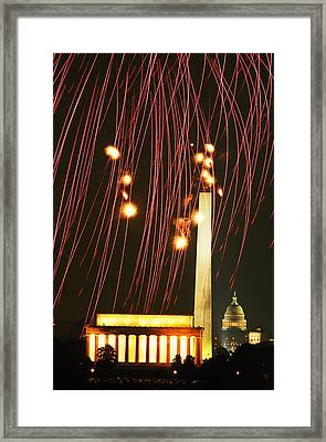 Fourth Of July In Dc Framed Print by Carl Purcell