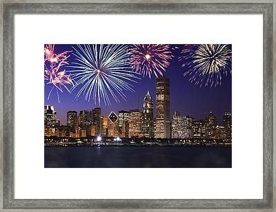 Fireworks Over Chicago Skyline Framed Print