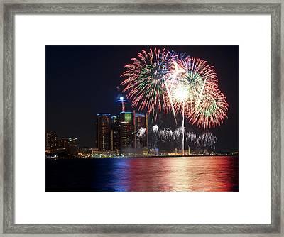 Fireworks Over Detroit Framed Print by George Hawkins