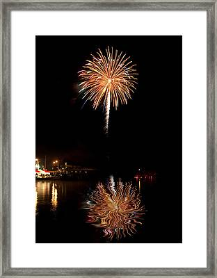 Fireworks Over Lake Framed Print by Cindy Haggerty