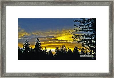 Framed Print featuring the photograph Firey Sunrise by Gary Brandes