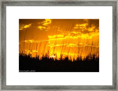 Framed Print featuring the photograph Firey Sunset by Shannon Harrington